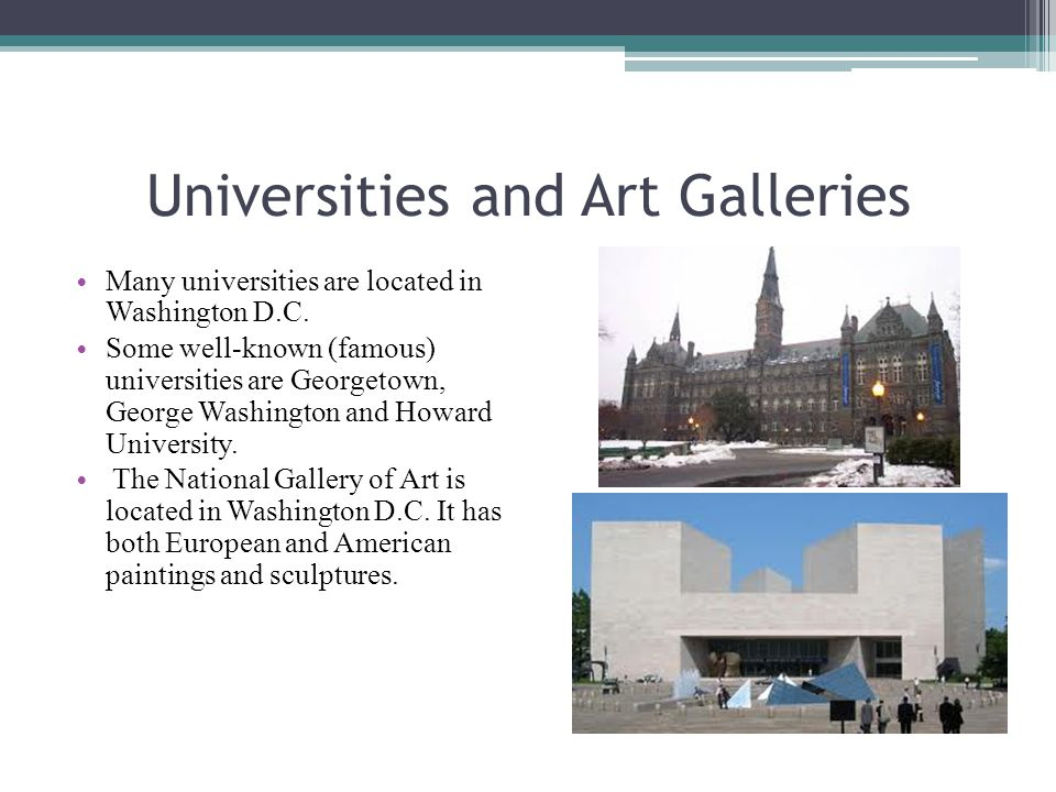 Universities and Art Galleries