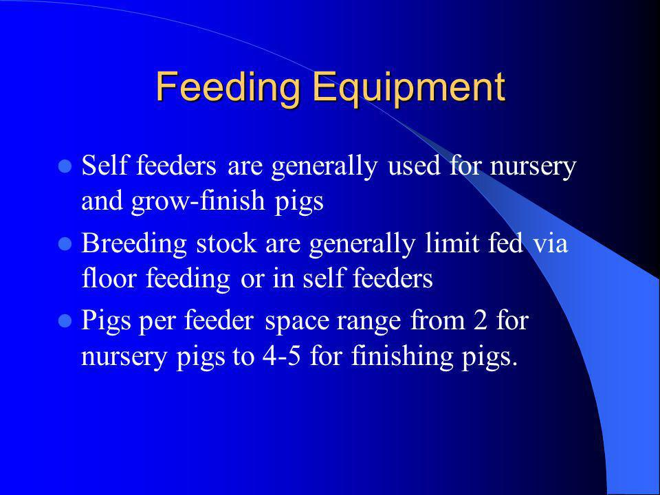 Feeding Equipment Self feeders are generally used for nursery and grow-finish pigs.