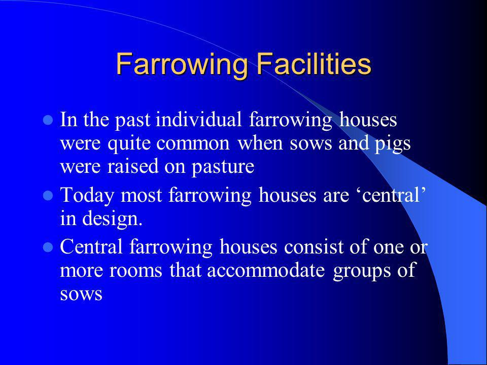 Farrowing Facilities In the past individual farrowing houses were quite common when sows and pigs were raised on pasture.