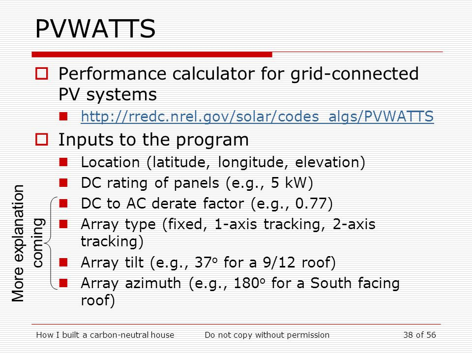 PVWATTS Performance calculator for grid-connected PV systems