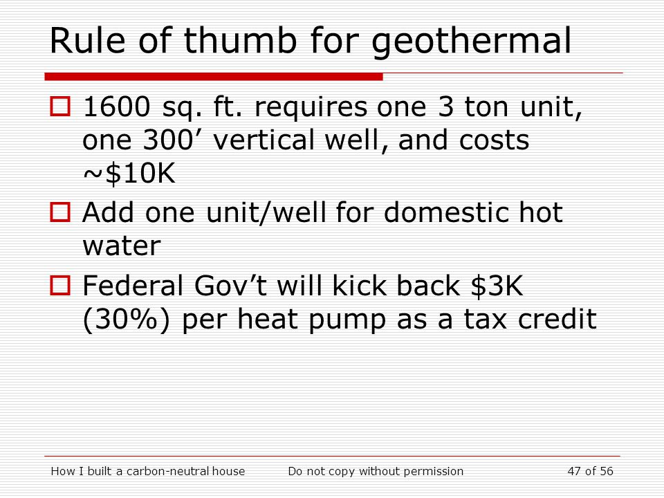 Rule of thumb for geothermal