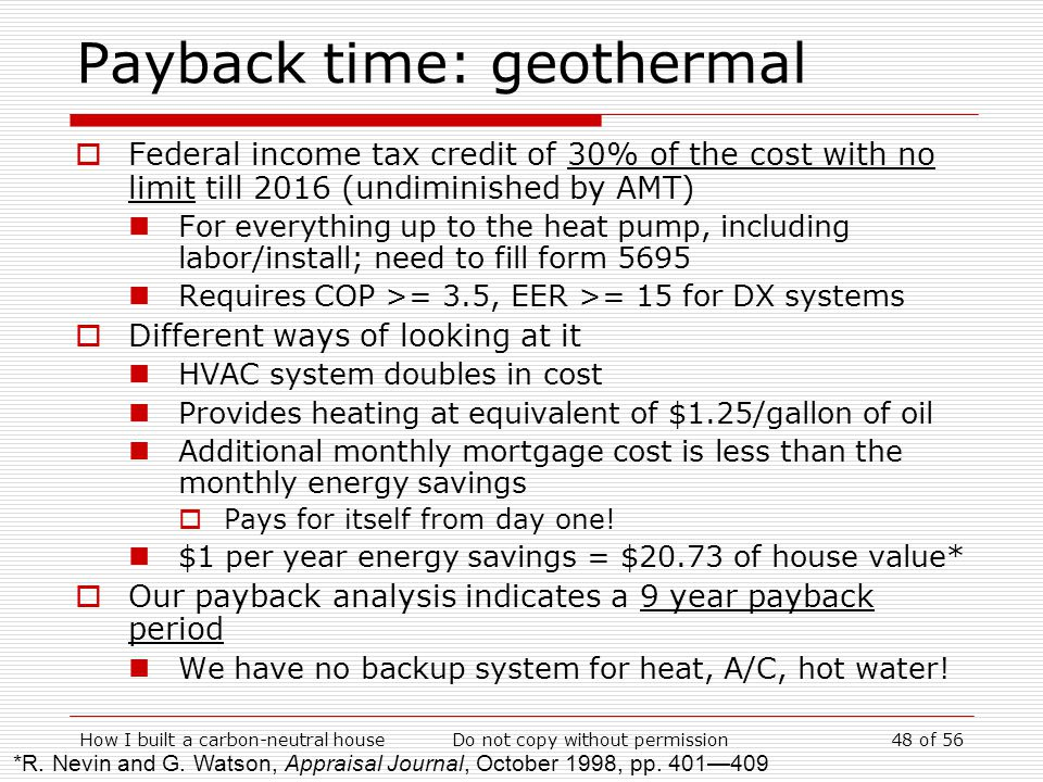 Payback time: geothermal