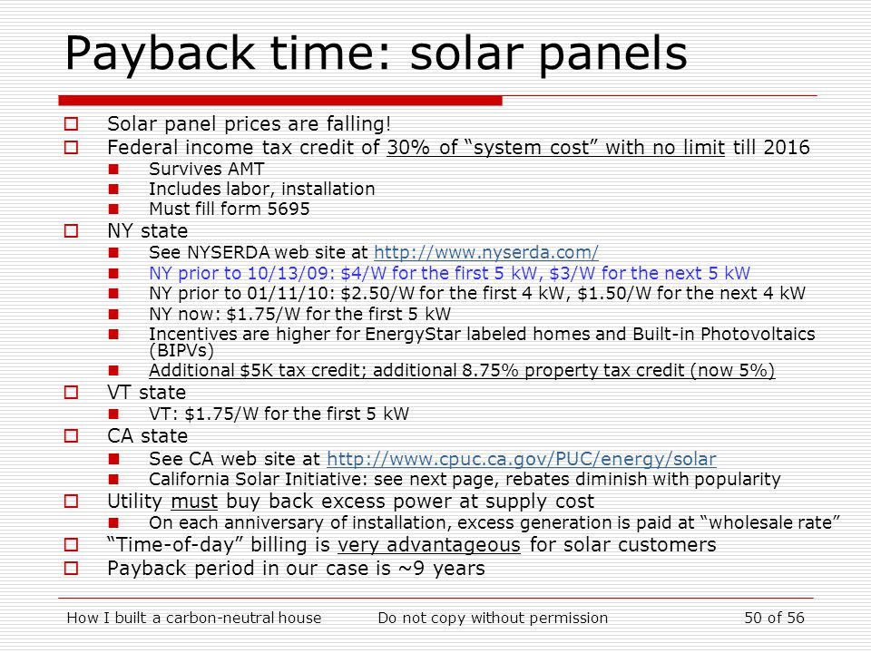 Payback time: solar panels