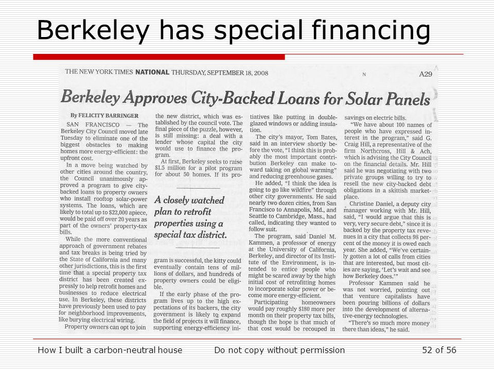 Berkeley has special financing