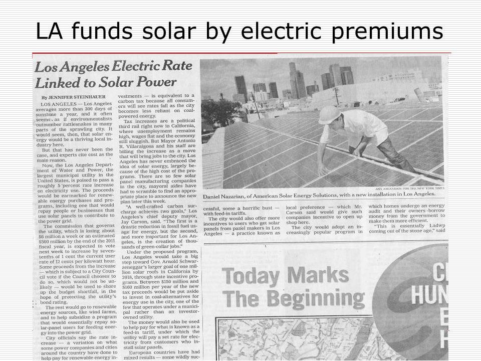 LA funds solar by electric premiums