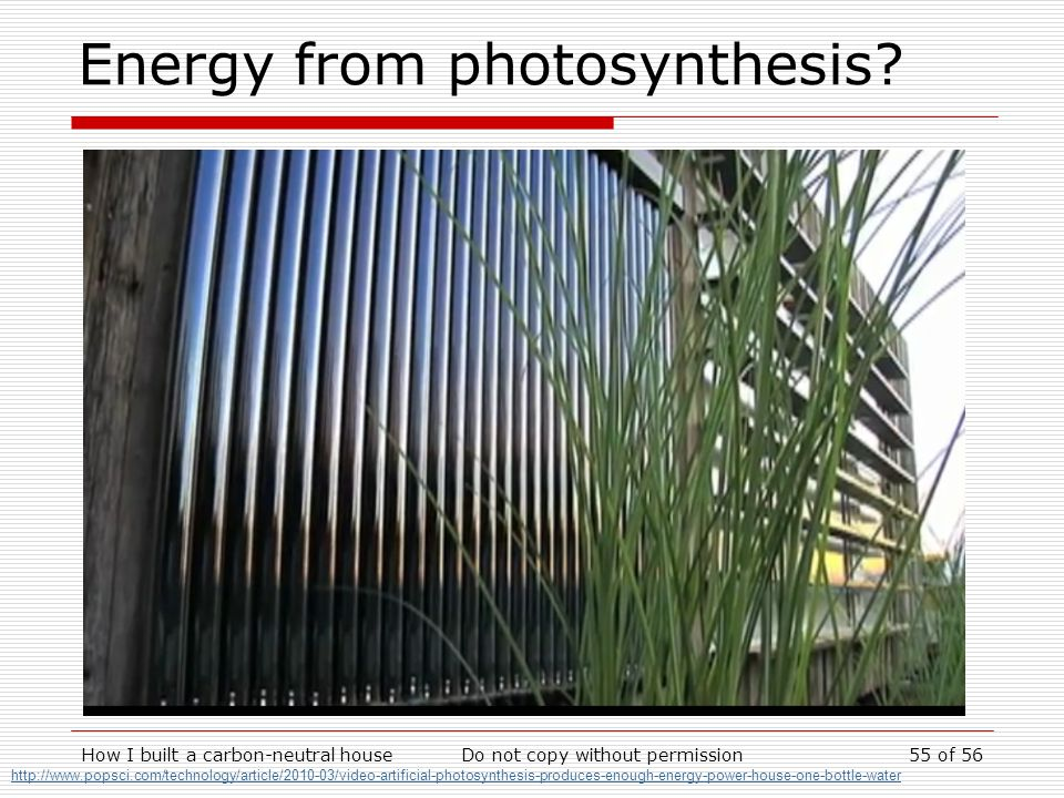 Energy from photosynthesis