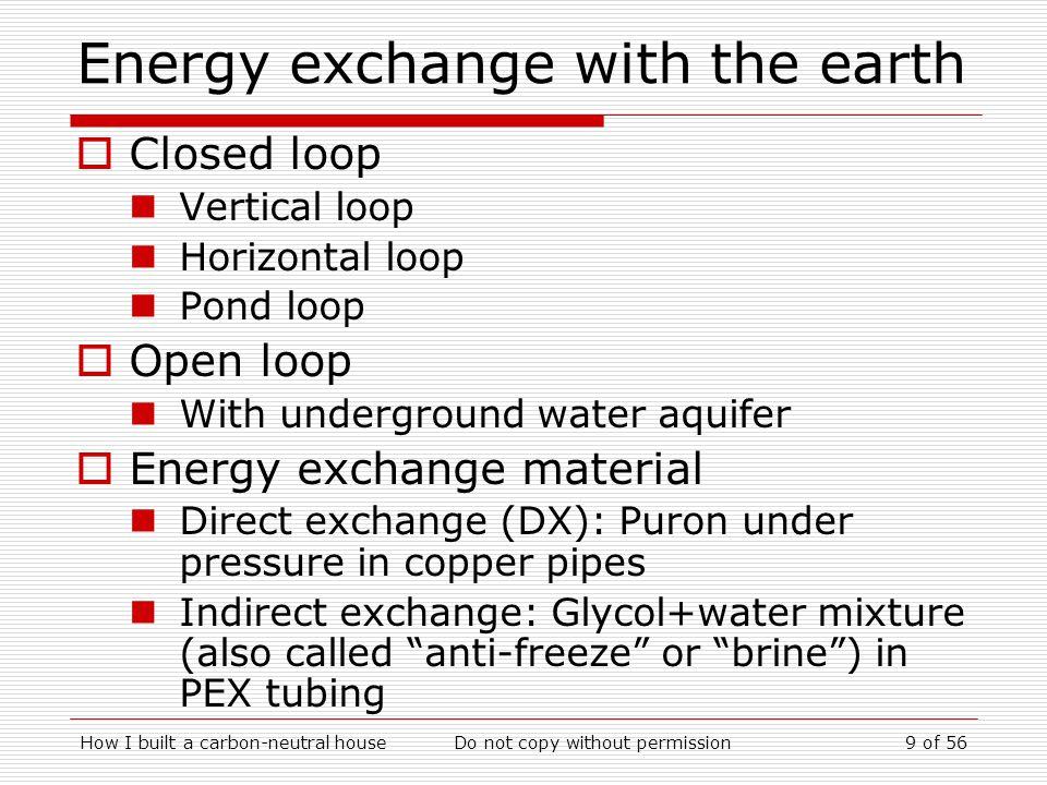 Energy exchange with the earth