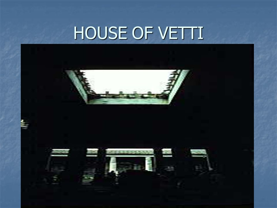 house of the vetti and house House of vettii - the house was located in the northwest corner of the city of pompeii - the house was a remodeling of an older house in the fourth style in ad 62.