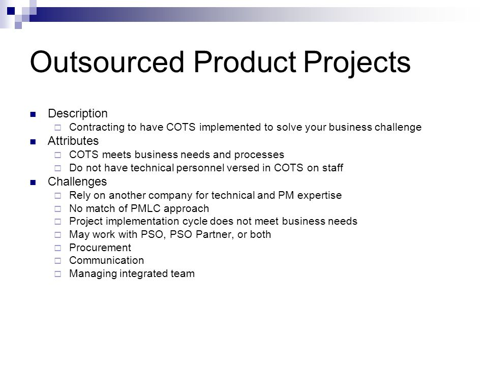 Outsourced Product Projects