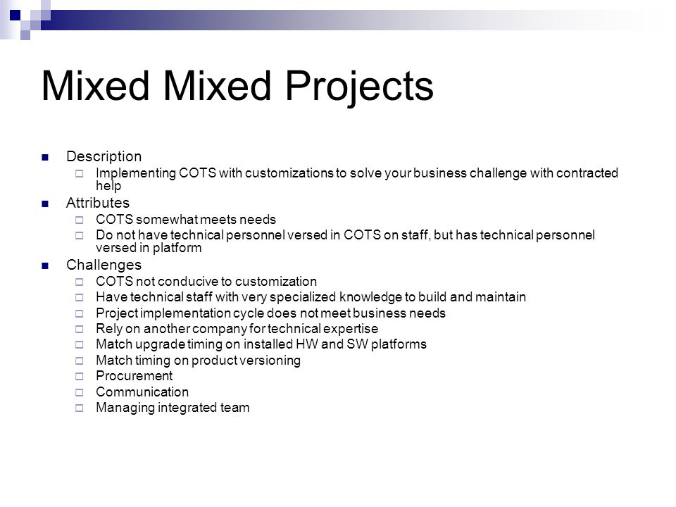 Mixed Mixed Projects Description Attributes Challenges