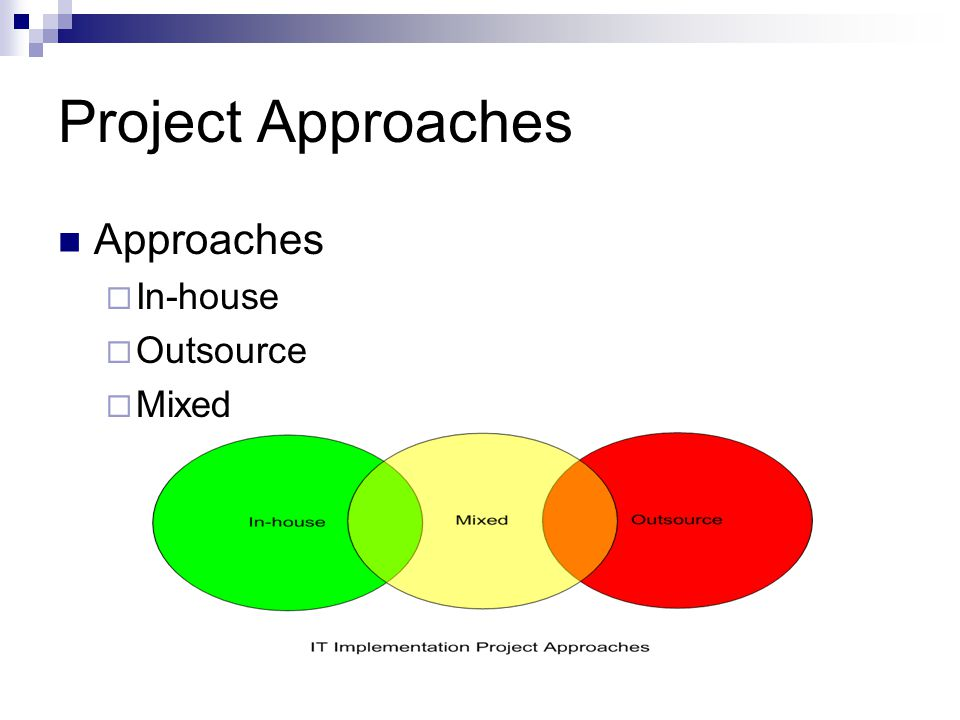 Project Approaches Approaches In-house Outsource Mixed