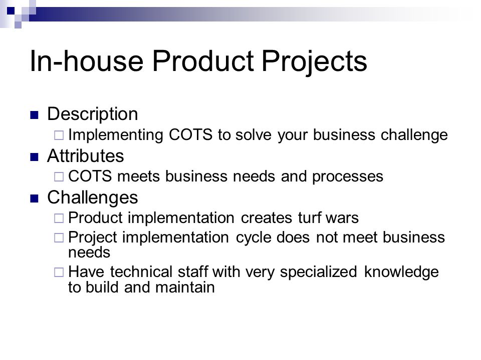 In-house Product Projects