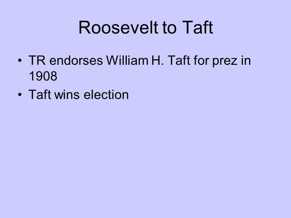 Roosevelt to Taft TR endorses William H. Taft for prez in 1908