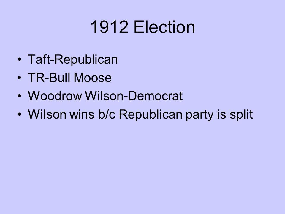 1912 Election Taft-Republican TR-Bull Moose Woodrow Wilson-Democrat