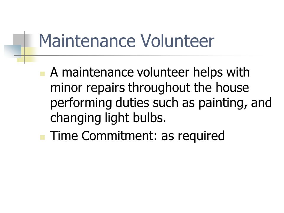 Maintenance Volunteer