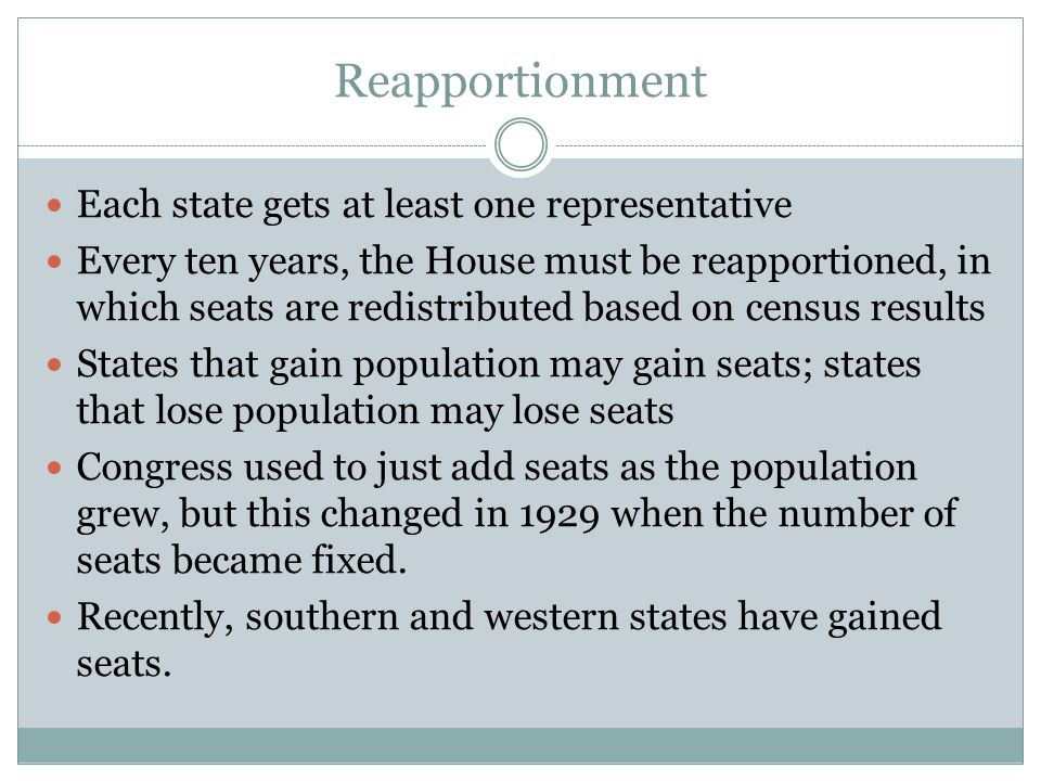 Reapportionment Each state gets at least one representative
