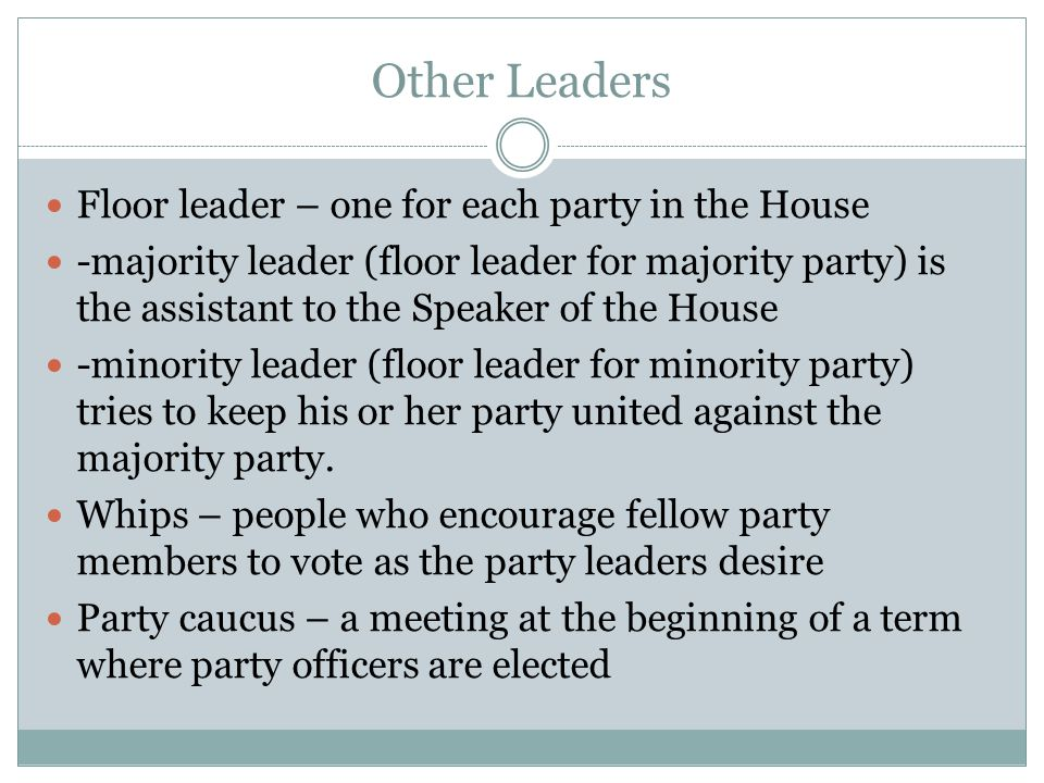 Other Leaders Floor leader – one for each party in the House