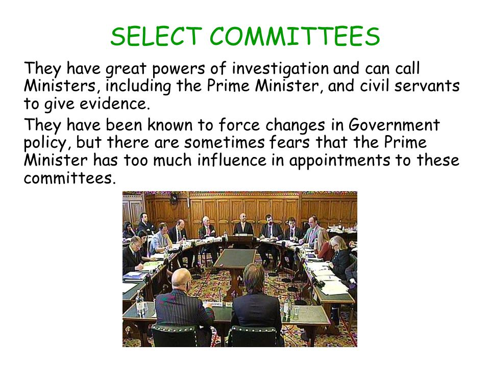 SELECT COMMITTEES They have great powers of investigation and can call Ministers, including the Prime Minister, and civil servants to give evidence.