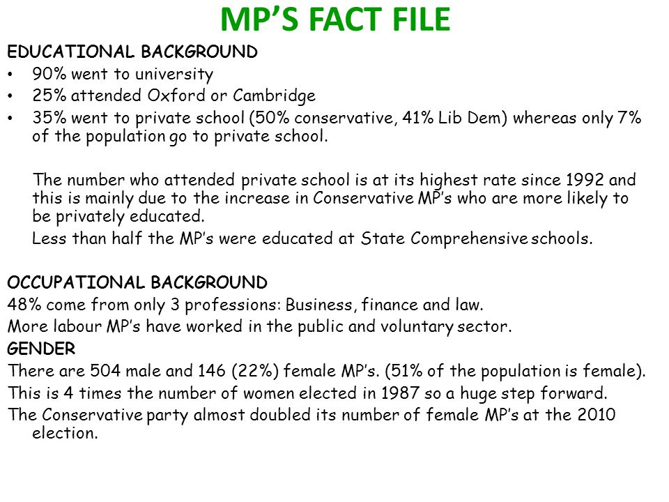 MP'S FACT FILE EDUCATIONAL BACKGROUND 90% went to university