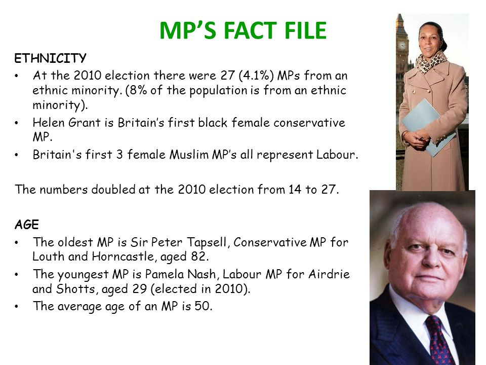 MP'S FACT FILE ETHNICITY