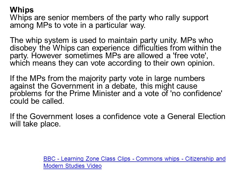 Whips Whips are senior members of the party who rally support among MPs to vote in a particular way.