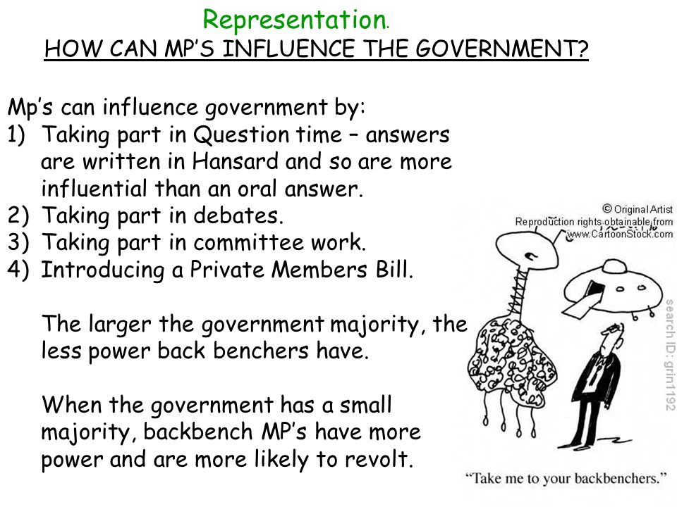 Representation. HOW CAN MP'S INFLUENCE THE GOVERNMENT