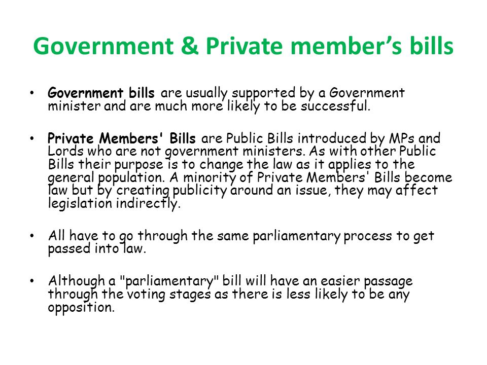 Government & Private member's bills