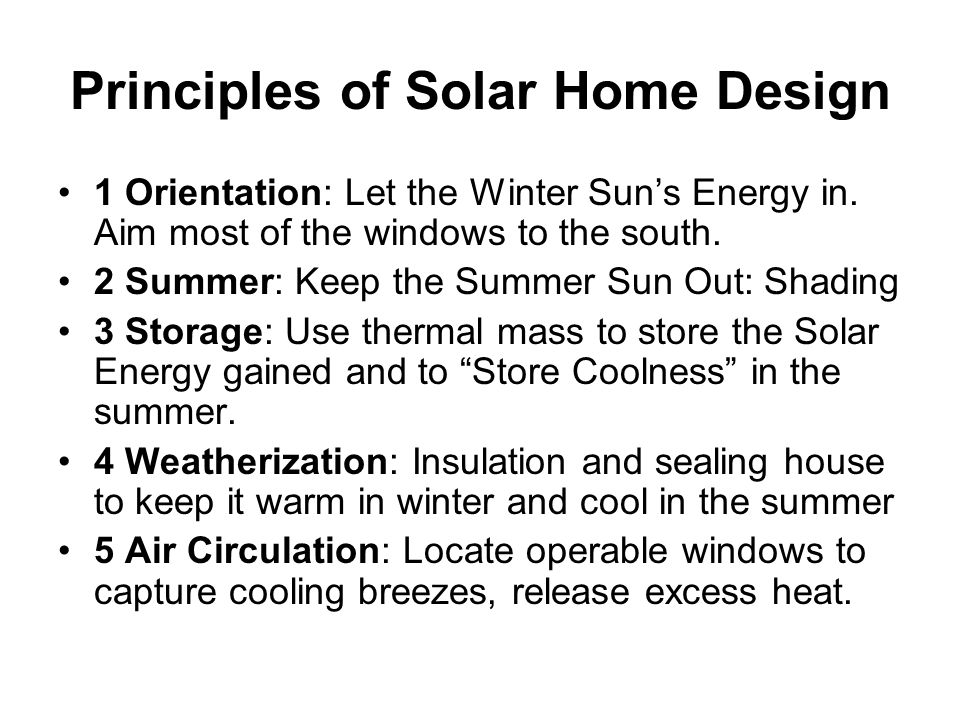 Principles of Solar Home Design