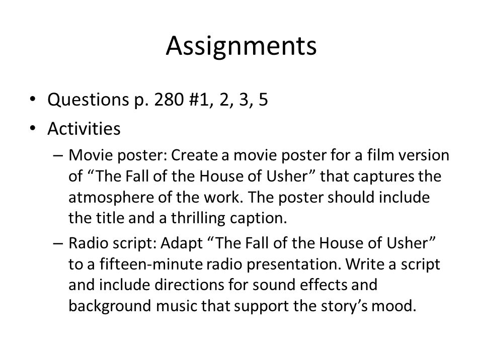 Assignments Questions p. 280 #1, 2, 3, 5 Activities