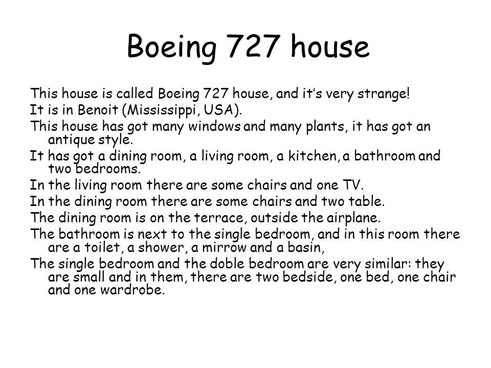 Boeing 727 house