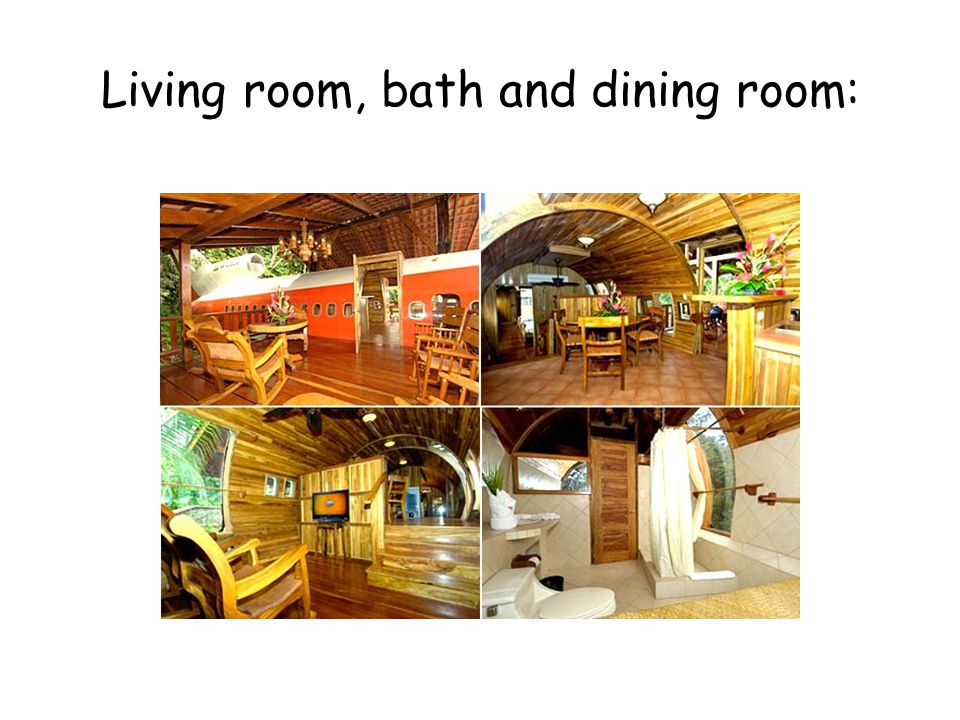Living room, bath and dining room: