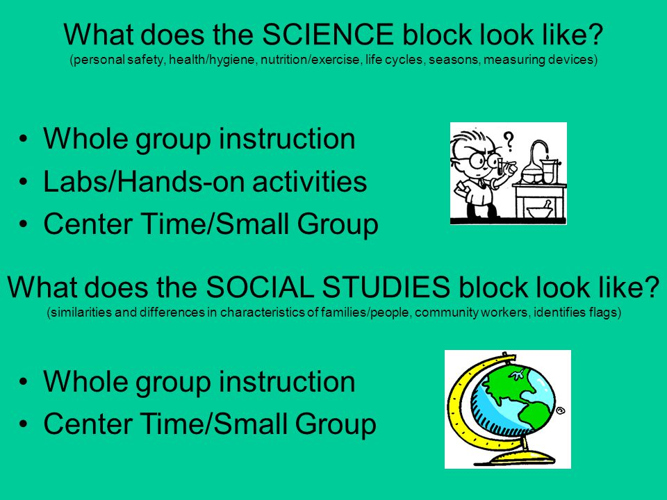 What does the SOCIAL STUDIES block look like