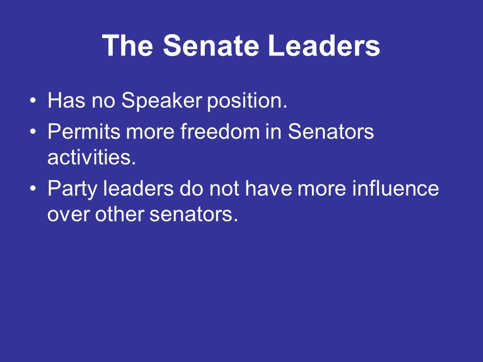 The Senate Leaders Has no Speaker position.