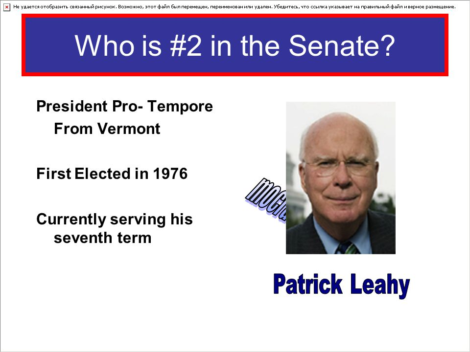 Who is #2 in the Senate mocratDe Patrick Leahy President Pro- Tempore