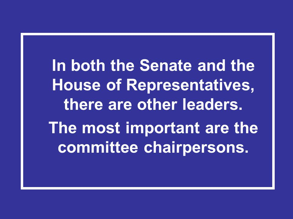 The most important are the committee chairpersons.