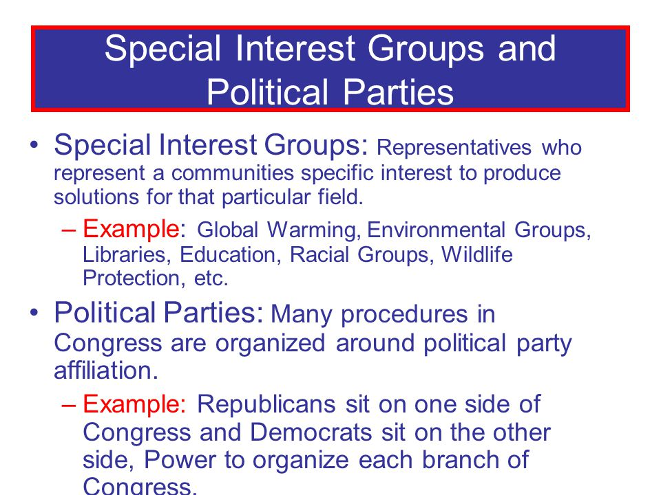Special Interest Groups and Political Parties