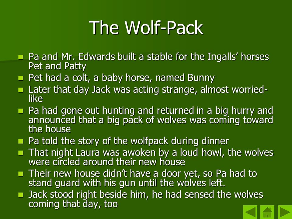 The Wolf-Pack Pa and Mr. Edwards built a stable for the Ingalls' horses Pet and Patty. Pet had a colt, a baby horse, named Bunny.