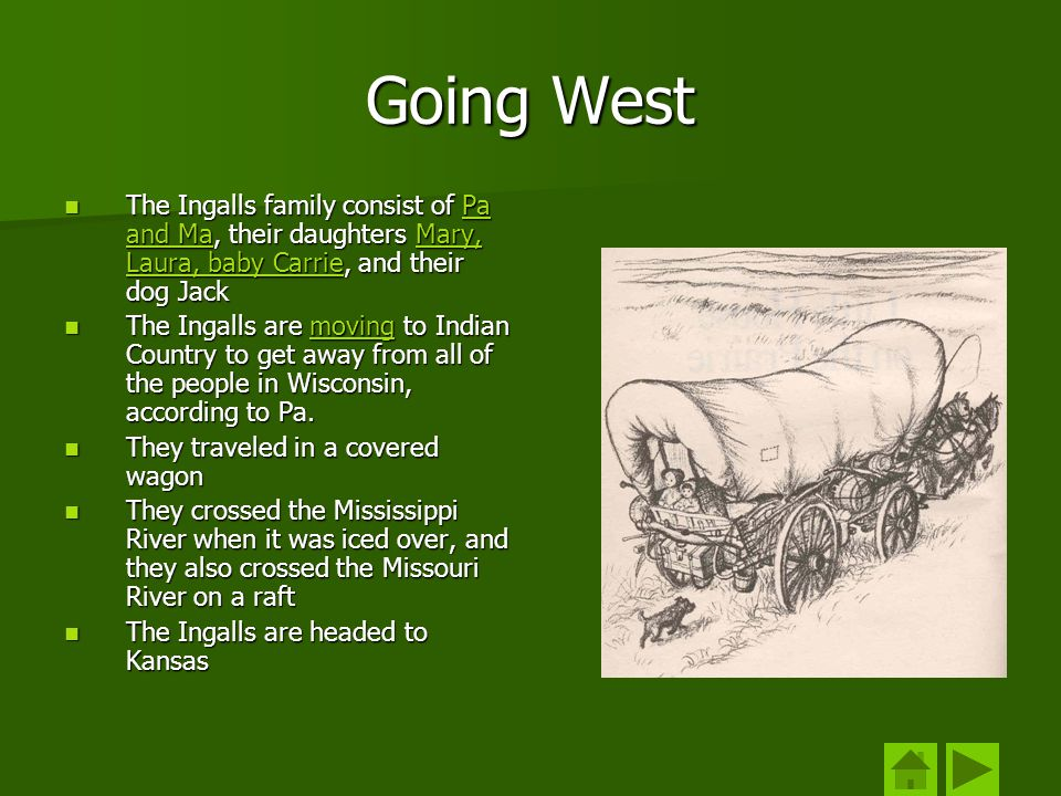 Going West The Ingalls family consist of Pa and Ma, their daughters Mary, Laura, baby Carrie, and their dog Jack.