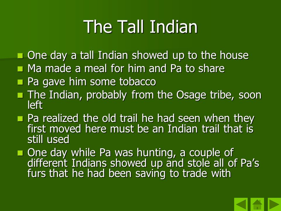 The Tall Indian One day a tall Indian showed up to the house