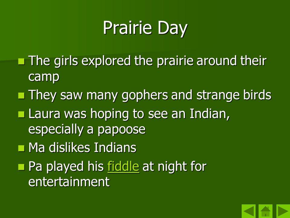Prairie Day The girls explored the prairie around their camp