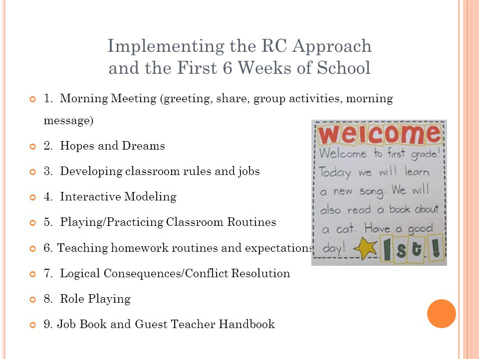 Implementing the RC Approach and the First 6 Weeks of School