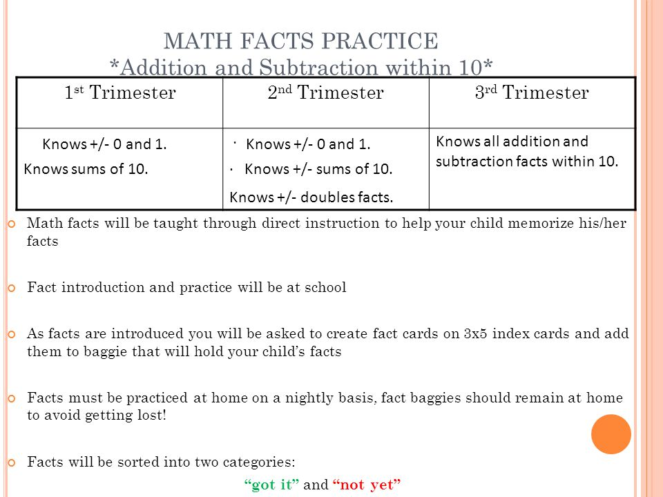 MATH FACTS PRACTICE *Addition and Subtraction within 10*