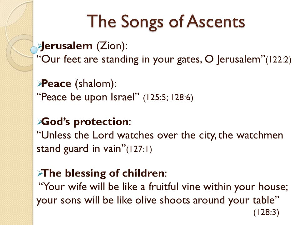 The Songs of Ascents Jerusalem (Zion):