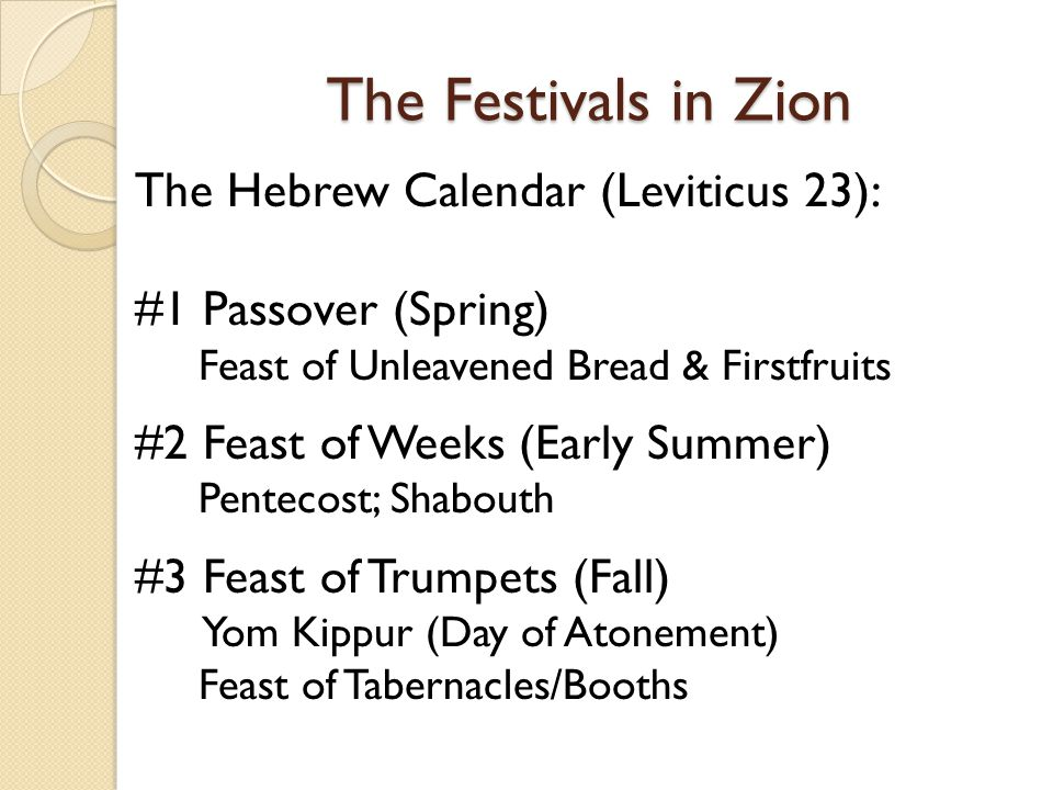The Festivals in Zion The Hebrew Calendar (Leviticus 23):