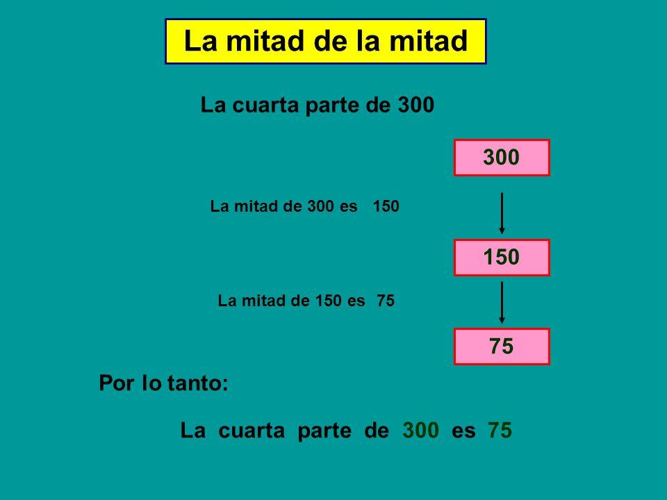 La mitad de la mitad La cuarta parte de 300 300 150 75 Por lo tanto: