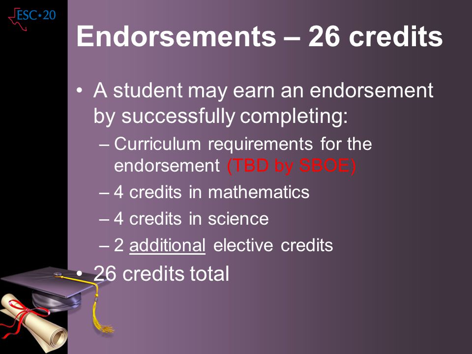 Endorsements – 26 credits