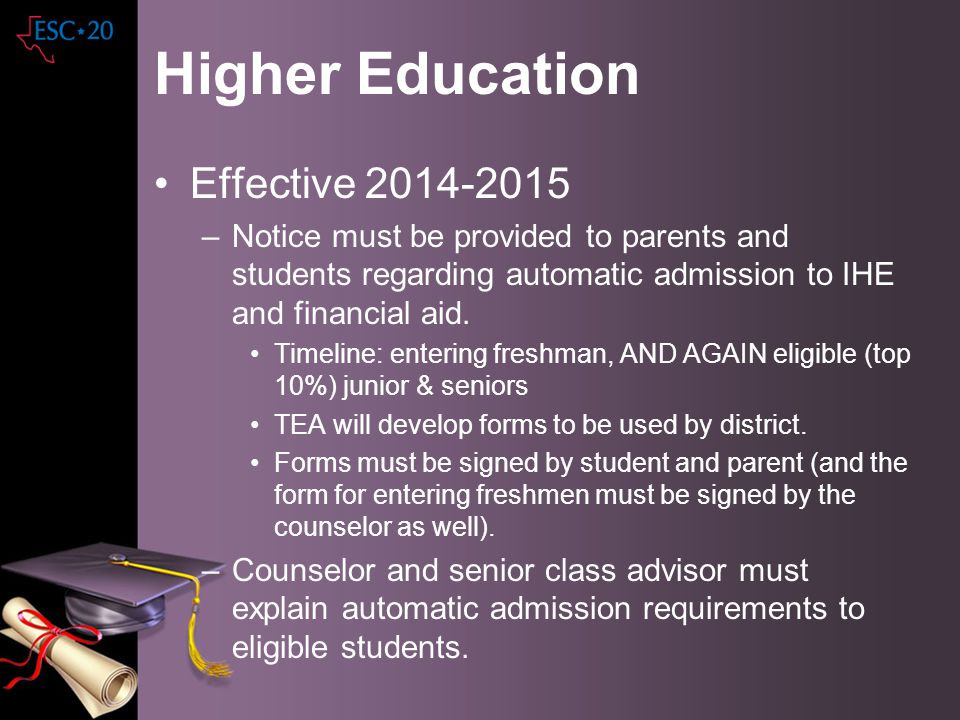 Higher Education Effective 2014-2015