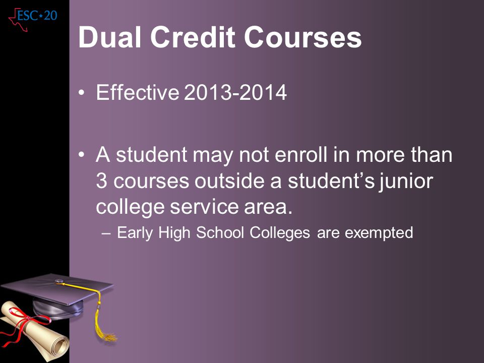 Dual Credit Courses Effective 2013-2014