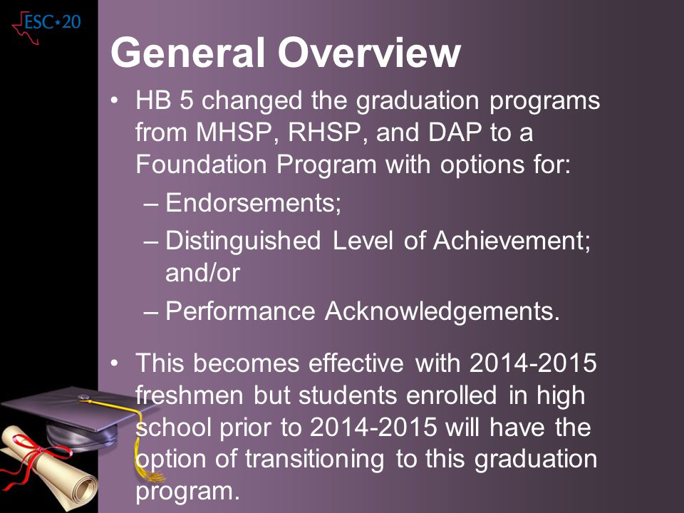 General Overview HB 5 changed the graduation programs from MHSP, RHSP, and DAP to a Foundation Program with options for: