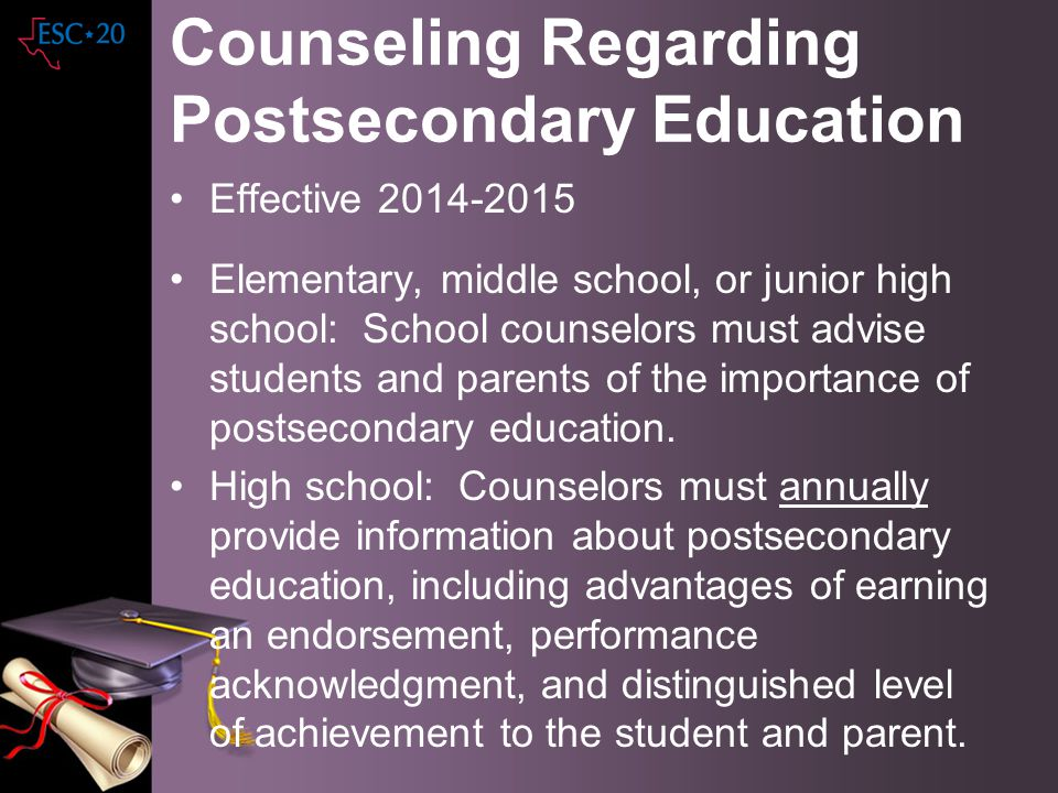 Counseling Regarding Postsecondary Education
